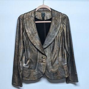 Clara Sun Woo Brown Metallic Stretch Blazer Sz M